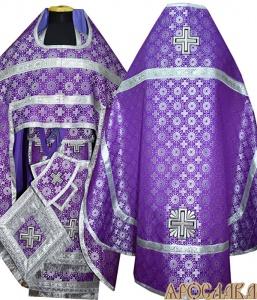 АРТ139. Риза фиолетовая с серебром шелк Мирликийский крест мелкий, обыденная отделка (цвет серебро).