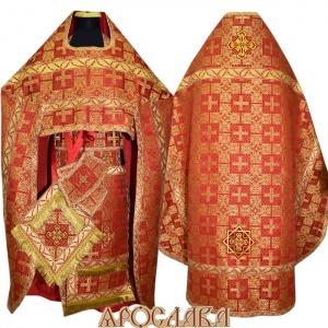 АРТ140. Риза красная парча Царский, отделка цветной галун (красный с золотом рис.Листок).