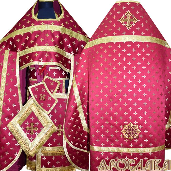 АРТ142. Риза бордовая шелк Крещенский,обыденная отделка (цвет золото).