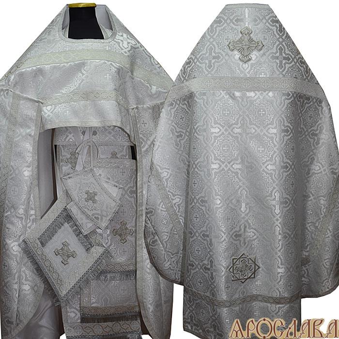 АРТ143. Риза белая с серебром шелк Златоуст, отделка цветной галун (белый с серебром).