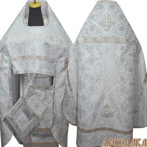 АРТ144. Риза белая с серебром парча Псковский, отделка цветной галун (белый с серебром).