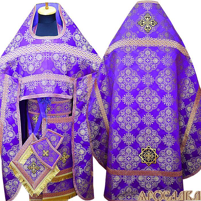 АРТ145. Риза парча Карпатский, отделка цветной галун (фиолетовый с золотом).