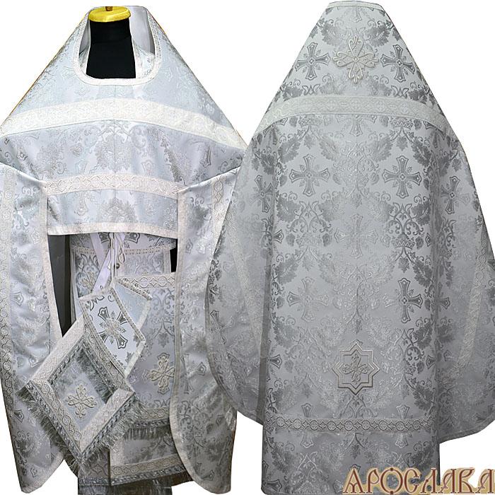 АРТ146. Риза белая с серебром парча Курский, отделка цветной галун (белый с серебром).