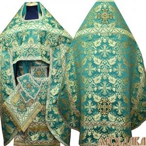АРТ147. Риза парча Курский, отделка цветной галун (зеленый с золотом).