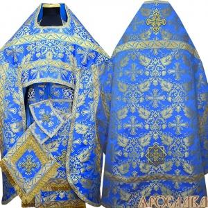 АРТ148. Риза голубая с золотом парча Курский, отделка цветной галун (голубой с золотом).