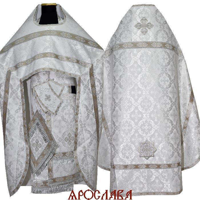 АРТ1493. Риза белая с серебром шелк Никольский, отделка цветной галун (белый с серебром).