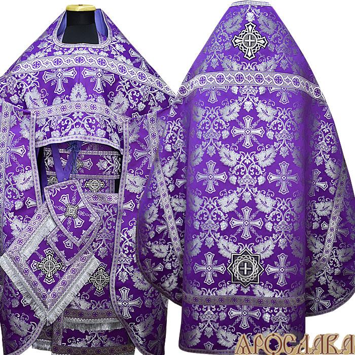 АРТ149. Риза фиолетовая с серебром парча Курский, отделка цветной галун (фиолетовый с серебром).