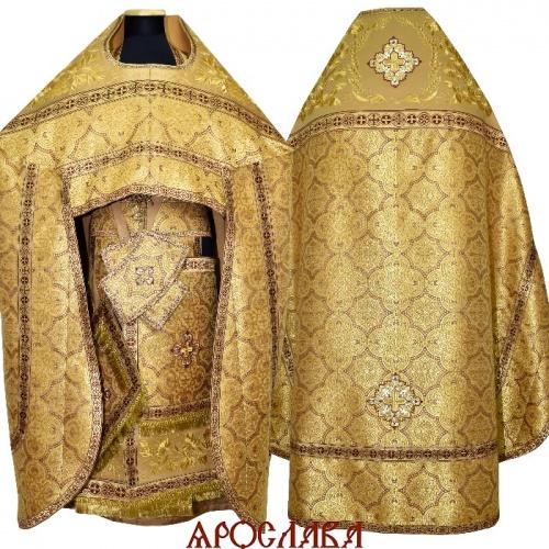 АРТ1509. Риза желтая парча Ярославна. Комбинированная с вышивкой рисунок Корнилий: власяница, окошки епитрахили, низ набедренника.