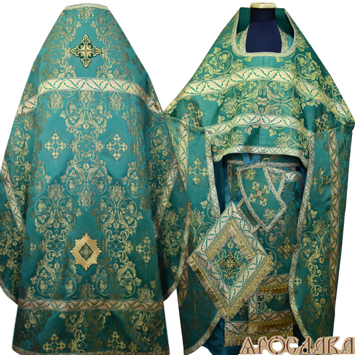 АРТ150. Риза шелк Слуцкий, отделка цветной галун (зеленый с золотом).