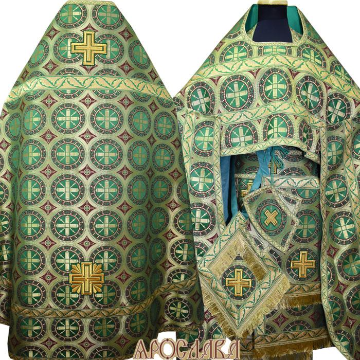 АРТ151. Риза шелк Троицкий, отделка цветной галун (зеленый с золотом).