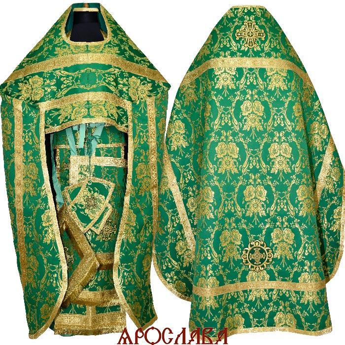 АРТ1521. Риза зеленая шелк Маки, обыденная отделка 185/50.
