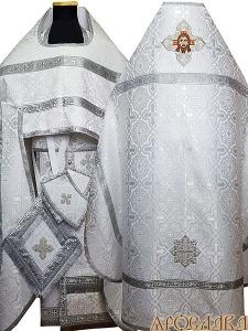 АРТ152. Риза белая с серебром шелк Златоуст, обыденная отделка (цвет серебро).Вышитая икона Спас Нерукотворный образ в кресте.