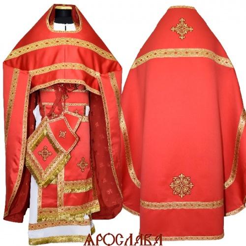 АРТ1539.Риза красный однотонный атласный шелк, отделка цветной галун (золото с красным)