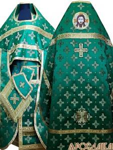 АРТ153. Риза зеленая шелк Святительский,обыденная отделка (цвет золото).Вышитая икона Спас Нерукотворный образ.