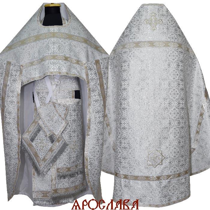 АРТ1543. Риза парча Василия, отделка цветной галун(белый с серебром).