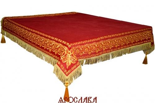 АРТ1548. Скатерть на престол, вышитая рис.Русский Афон, на подкладе,кисти с шариком.