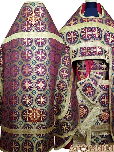 АРТ154. Риза шелк Троицкий, отделка цветной галун (цвет золото).