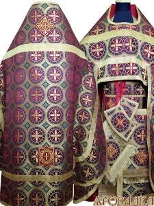 АРТ154. Риза бордовая шелк Троицкий, отделка цветной галун (цвет золото).
