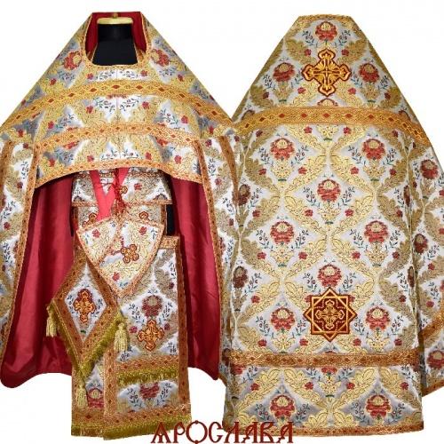 АРТ1554. Риза белая с красным греческая парча Пион, отделка цветной галун (красный с золотом). Витая бахрома, три кисти на палице.