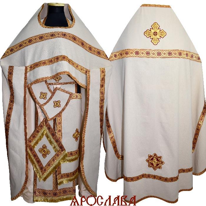 АРТ1555. Риза белый лен, отделка цветной галун (бордовый с золотом).