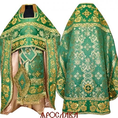 АРТ1559. Риза зеленый шелк Слуцкий. Комбинированная с вышивкой рисунок Кострома: власяница,надставка, окошки епитрахили, низ набедренника.