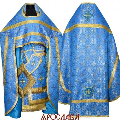 АРТ155. Риза голубая с золотом шелк Афон,обыденная отделка (цвет золото).
