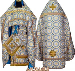 АРТ156. Риза голубой шелк Троицкий, отделка цветной галун (голубой с золотом).