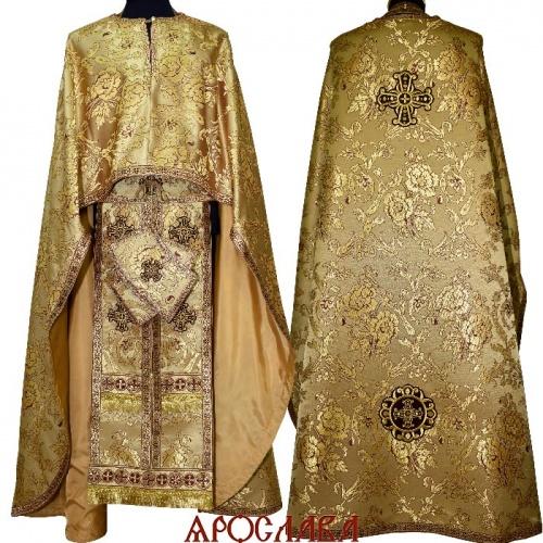 АРТ1571. Риза греческий крой,желтая с бордовым парча Пионы,отделка цветной галун (бордовый с золотом).