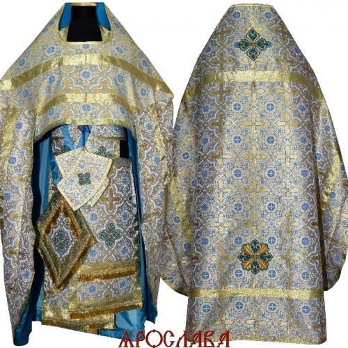 АРТ1572. Риза голубой с золотом шелк Златоуст, простой галун, вышитые кресты.