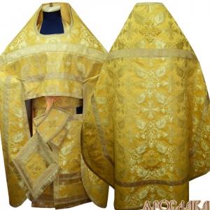 АРТ157. Риза желтая парча Курский, отделка цветной галун (цвет золото).