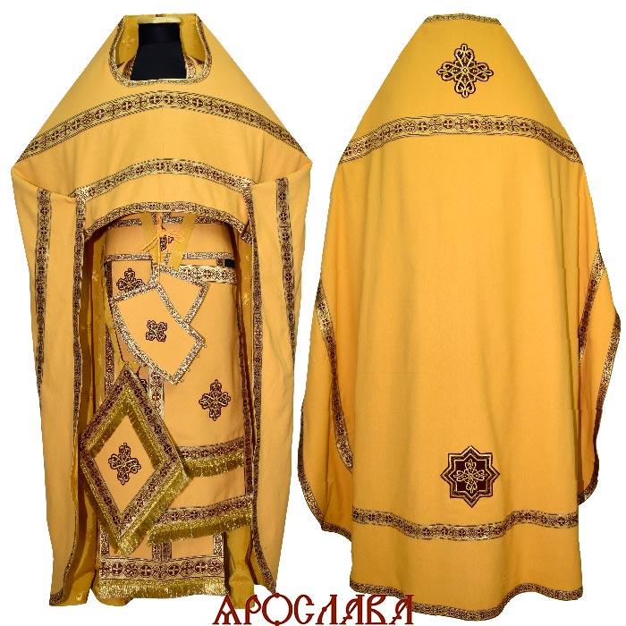 АРТ134.Риза желтый лен, отделка цветной галун (цвет бордовый с золотом ).