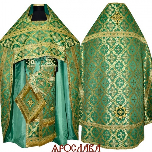 АРТ1594. Риза зеленая парча Николаевский, отделка цветной галун (зеленый с золотом).