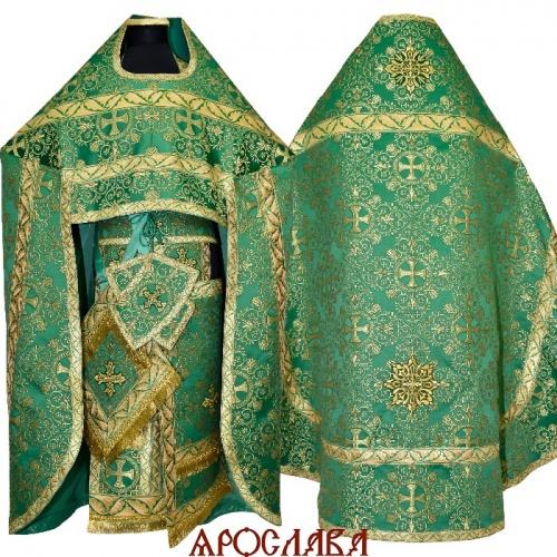 АРТ1595. Риза парча Алтайский, отделка цветной галун (зеленый с золотом).