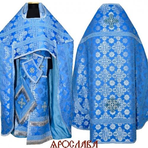АРТ1596. Риза голубой с серебром шелк Вифлеем, отделка цветной галун (голубой с серебром).