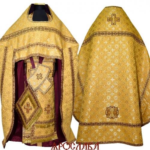 АРТ1597. Риза желтый шелк Мирликийский крест мелкий, отделка цветной галун(бордовый с золотом).