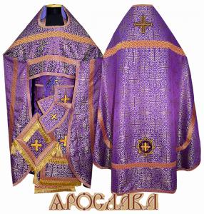 АРТ159. Риза фиолетовая шелк Афон, отделка цветной галун, витые кисти на палице.