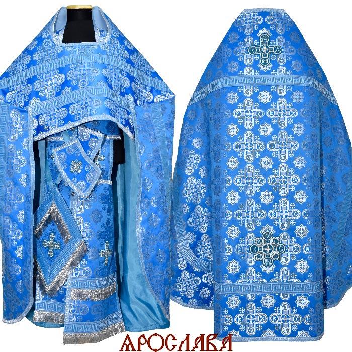 АРТ1620. Риза голубой с серебром шелк Вифлеем, отделка цветной галун (голубой с серебром). 175/56-58