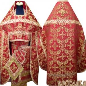 АРТ162. Риза красная шелк Курский, отделка цветной галун (красный с золотом рис.Листок).