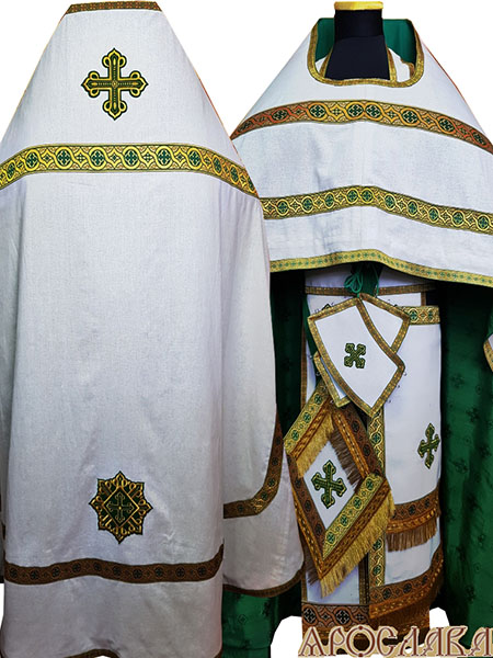 АРТ163.Риза лен, отделка цветной галун (зеленый с золотом).Подклад хлопок с вискозой,с крестовым рисунком,зеленого цвета.