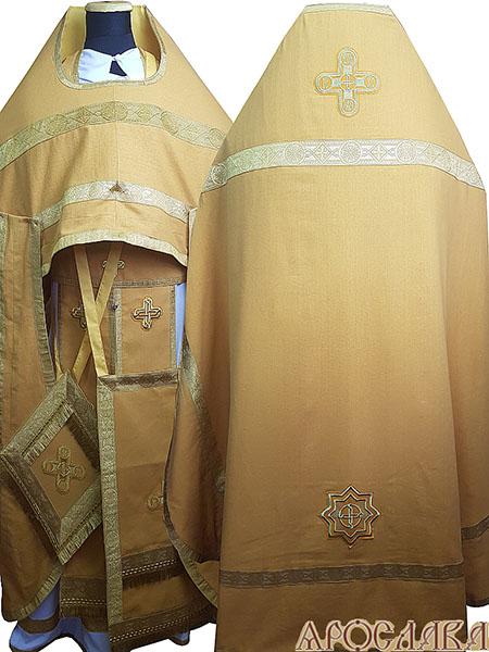 АРТ164. Риза желтый лен, отделка цветной галун (цвет золото).