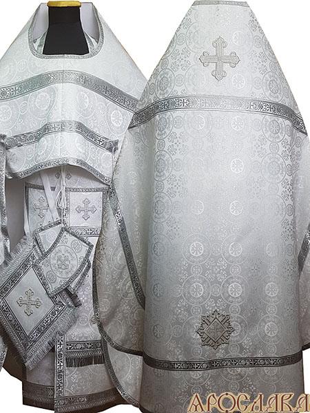 АРТ168. Риза белая с серебром шелк Севастьяновский,обыденная отделка (цвет серебро).