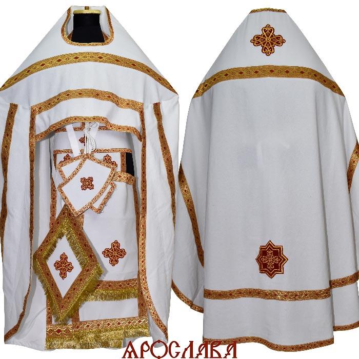 АРТ169. Риза белый лен, отделка цветной галун (красный с золотом ).