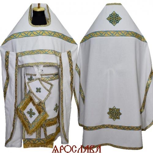 АРТ170. Риза белый лен, отделка цветной галун (голубойс золотом ).