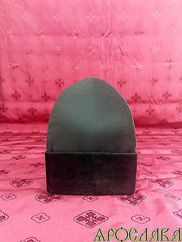 АРТ1720. Скуфия русская с отворотом(бархат). Ткань черная шерсть Армани. Размер 62,высота-19см