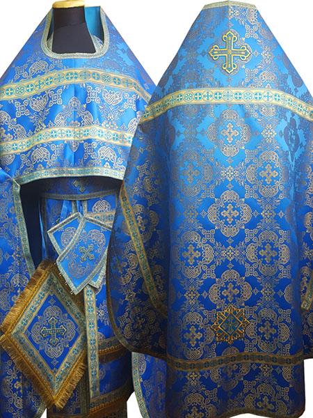 АРТ172. Риза шелк Коломенский, отделка цветной галун(голубой с золотом).
