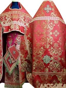 АРТ173.Риза красная парча Слуцкий, отделка цветной галун(красный с золотом), витая бахрома.