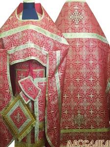 АРТ175. Риза красный шелк Кустодия,обыденная отделка (цвет золото).