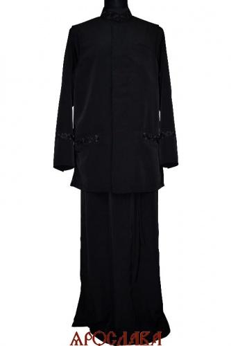 АРТ 1771 Комплект: подрясник-платье основа греческая,вышивка рис №18 ворот,нагрудные карманы,манжеты. Жилет на подкладке, потайная застежка, вышитые накладные карманы рис №18. Ткань креп-шелк.