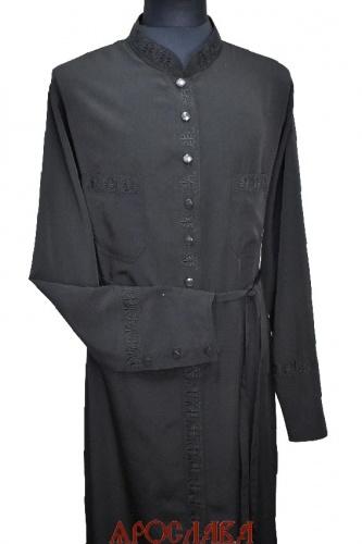 АРТ1779. Подрясник-платье основа греческая, пуговицы до талии. Ткань мокрый шелк. Вышивка рис №15: ворот,планка, манжеты, карманы.