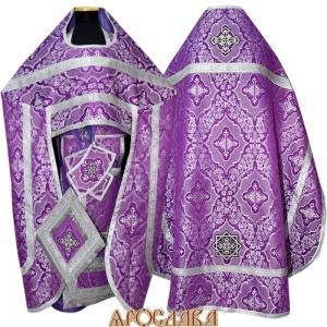 АРТ177. Риза фиолетовый с серебром шелк Донской,обыденная отделка (цвет серебро).